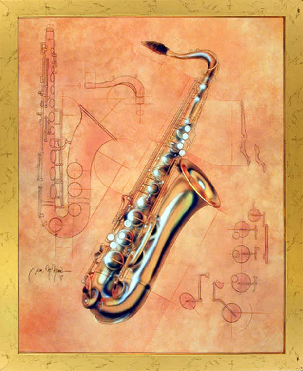 Impact Posters Gallery Fine Arts Music Instrument Saxophone Kids Room Wall Decor Framed Picture Art Print