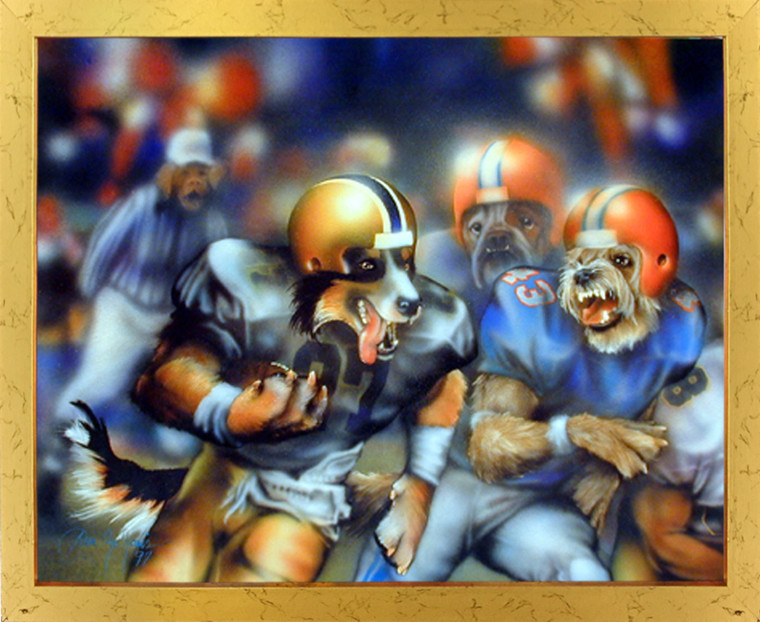 Impact Posters Gallery Dogs Playing Football Dan McManis Kids Room Golden Picture Art Print Framed Wall Decor