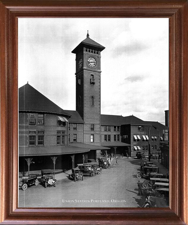 Framed Wall Decoration Vintage Ford Model T Car Union Station Portland, Oregon Mahogany Framed Art Print Picture (18x22)