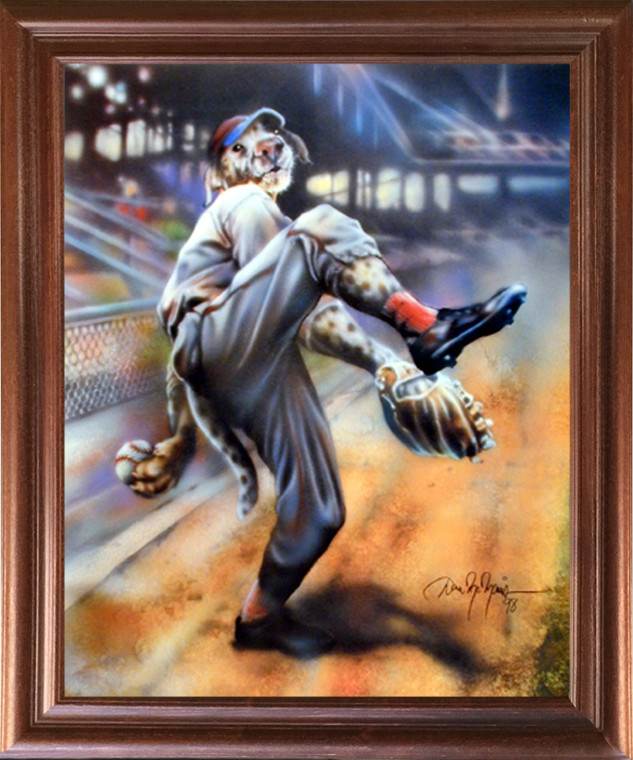 Framed Wall Decoration Picture Dog Playing Old Time Baseball Motivational Sports Fine Mahogany Art Print (18x22)