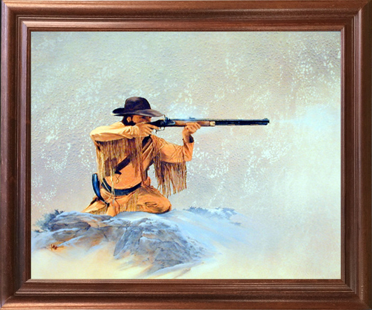Framed Wall Decor Western Mountain Man with Rifle Hunting Mahogany Picture Art Print (18x22)