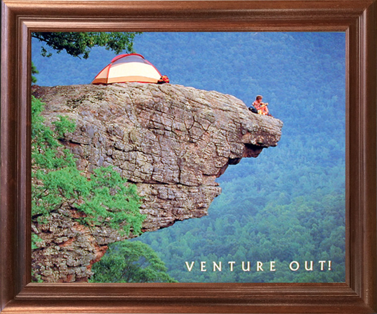 Motivational Climbing Framed Wall Decoration Venture Out! Cliff Mahogany Picture Art Print (18x22)