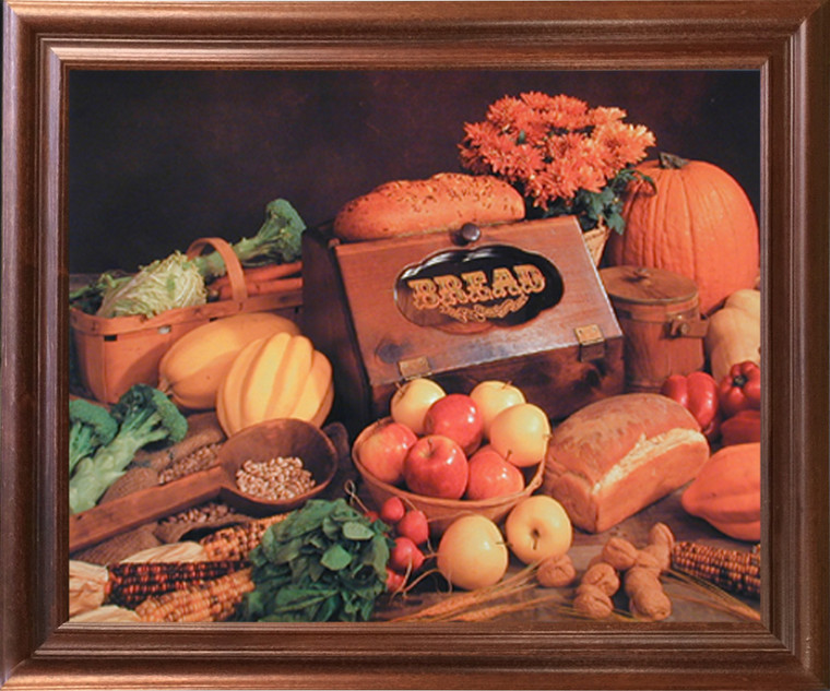 Framed Wall Decor Food and Bread Still Life Kitchen Mahogany Picture Art Print (18x22)