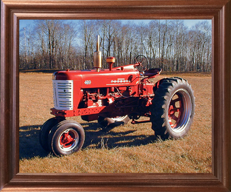 Framed Wall Decor 1955 Red Farmall M 400 Vintage Farming Tractor Mahogany Picture Art Print (18x22)