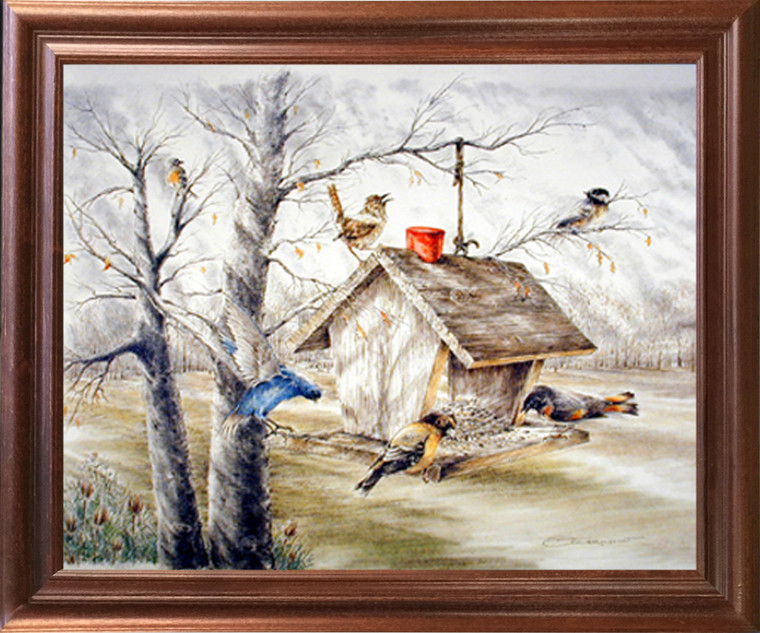 Impact Posters Gallery Wild Birds at Feeder Animal Fine Mahogany Art Print Framed Wall Decor Picture (18x22)