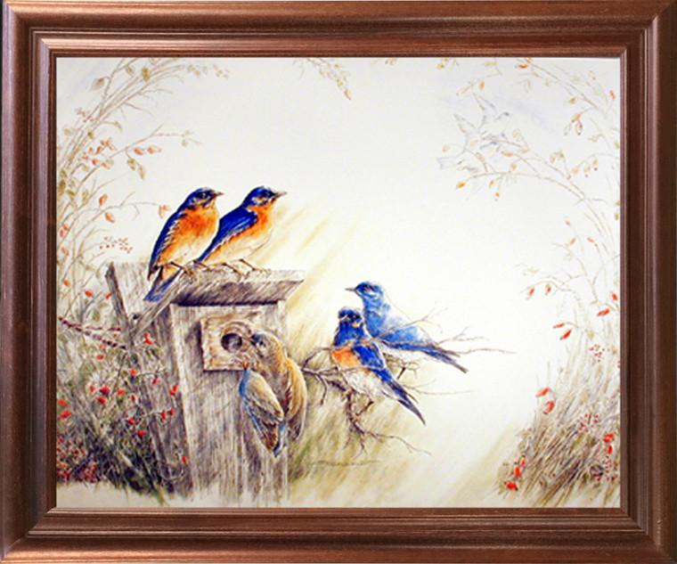 Framed Wall Picture Decor Bluebirds on Tree Feeder Bird Animal Fine Mahogany Art Print (18x22)