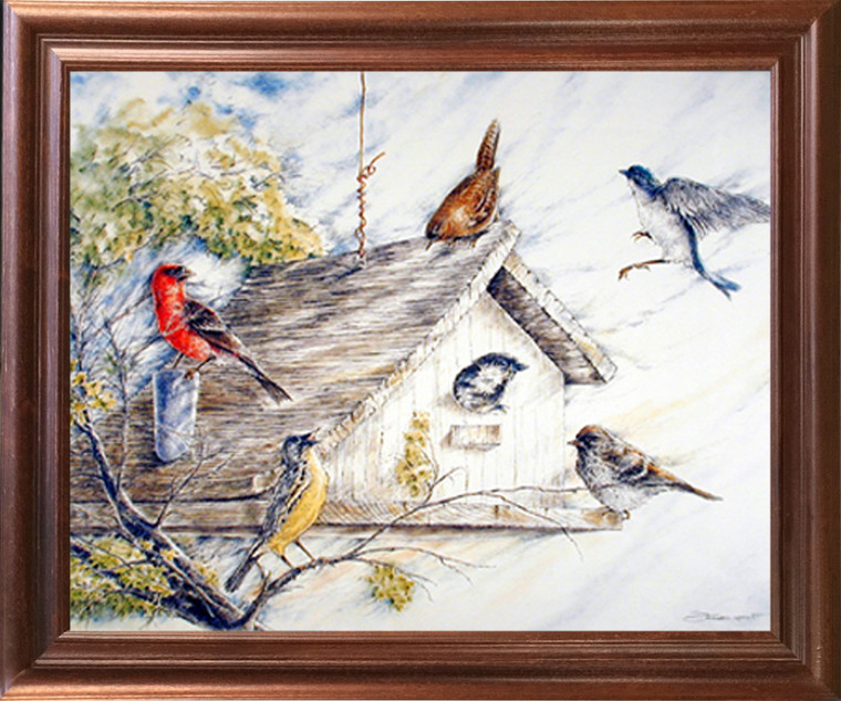 Impact Posters Gallery Birds at Birdhouse Wild Animal Nature Fine Wall Decor Mahogany Framed Picture Art Print (18x22)
