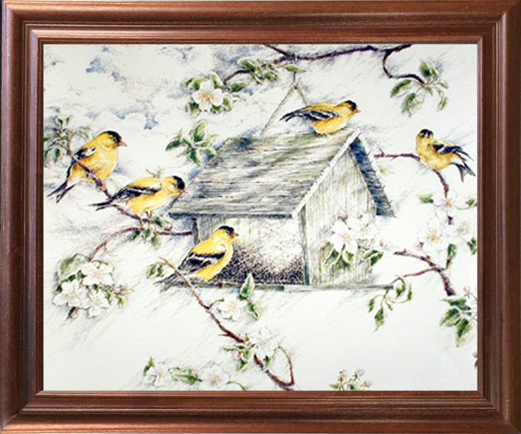 Impact Posters Gallery Gold Finches Feeder in Snow Wild Birds Mahogany Framed Picture Art Print Framed Wall Decoration (18x22)