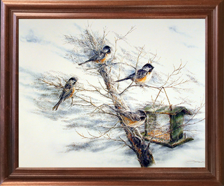 Animal Framed Picture Art Print Chickadee Birds House on Tree Wall Decor Mahogany Poster (18x22)
