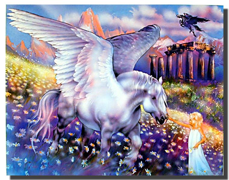 Girl and Pegasus Poster- Fantasy