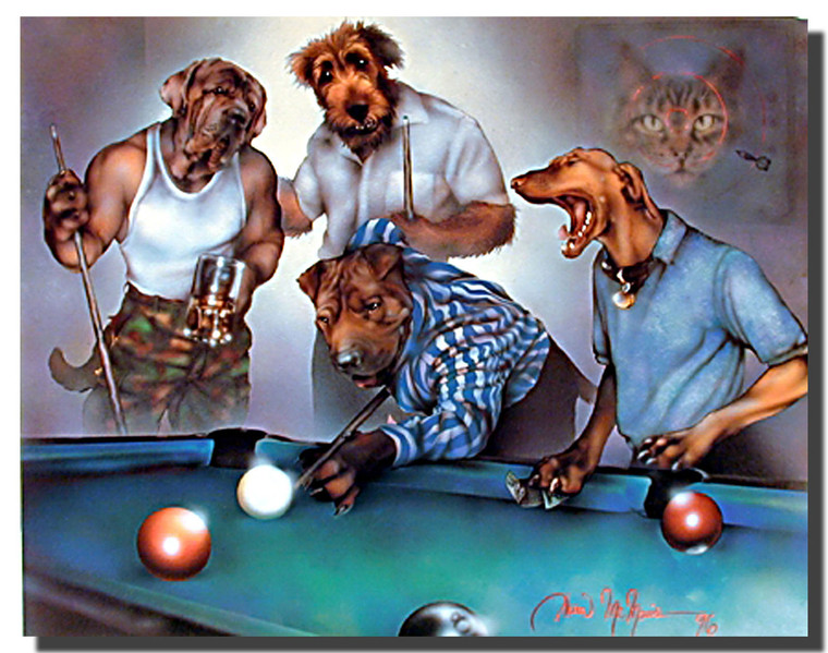 Dogs Playing Pool Poster