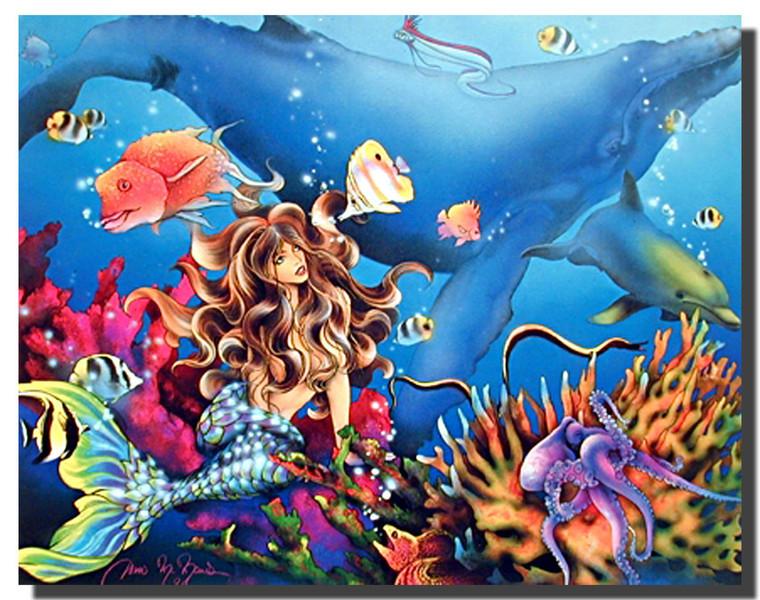 Mermaid Whale Poster- Fantasy