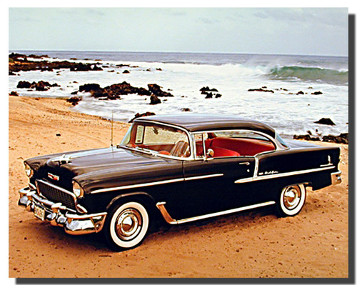 Black 1955 Chevy Bel Air Poster Car Posters Automotive Posters