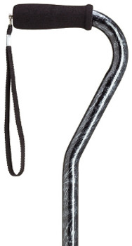 Offset Handle Cane - Black Marble