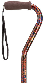 Offset Handle Cane - Paisley