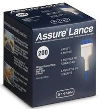 Assure Lance Low Flow, 25g, 2mm Depth, Blue,  200's