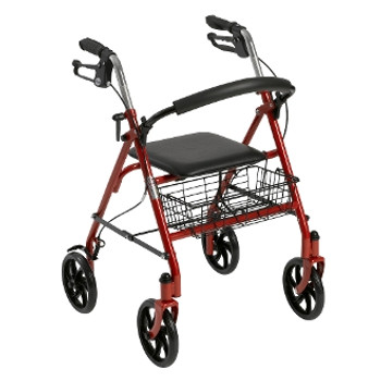 """Drive Durable 4 Wheel Rollator with 7.5"""" Casters - Red"""