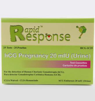 Rapid Response hCG Pregnancy Test Cassette (HCG-1C25)