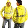 Occunomix Class 2 Hi Vis Yellow Zip Up Hooded Sweatshirt LUX-SWTLHZ Front/Back