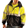 Occunomix Class 3 Hi Vis Yellow 4-in-1 Black Bottom Bomber Jacket LUX-TJBJ-B Front Close-Up