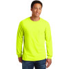 Gildan Enhanced Visibility Ultra Cotton Long Sleeve T-Shirt with Pocket 2410 Safety Green Front