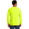 Gildan Enhanced Visibility Ultra Cotton Long Sleeve T-Shirt with Pocket 2410 Safety Green Back