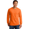 Gildan Enhanced Visibility Ultra Cotton Long Sleeve T-Shirt with Pocket 2410 Safety Orange Front