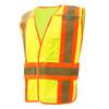 GSS Class 2 Hi Vis Lime Adjustable Vest with 2 Tone Trim 1803 Left Side