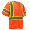 GSS Class 3 Hi Vis Orange 2 Tone Trim Economy Vest with Hook and Loop 2008 Right Side