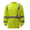 GSS Class 3 Hi Vis Lime Long Sleeve Moisture Wicking T-Shirt 5505 Left Side
