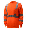 GSS Class 3 Hi Vis Orange Long Sleeve T-Shirt 5506 Left Side