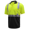 GSS Class 2 Hi Vis Lime Polo with Black Bottom and Collar 5003 Left Side