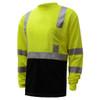 GSS Class 3 Hi Vis Lime Black Bottom Long Sleeve Moisture Wicking T-Shirt 5113 Left Side