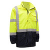 GSS Class 3 Hi Vis Lime Raincoat with Black Bottom 6003 Front Right