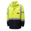 GSS Class 3 Hi Vis Lime Raincoat with Black Bottom 6003 Front Left