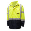 GSS Class 3 Hi Vis Lime Raincoat with Black Bottom 6003 Front Left