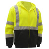 GSS Class 3 Hi Vis Lime Fleece Hooded Sweatshirt with Zipper and Black Bottom 7003 Left Side