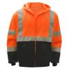 GSS Class 3 Hi Vis Orange Fleece Hooded Sweatshirt with Zipper and Black Bottom 7004 Front