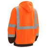GSS Class 3 Hi Vis Orange Fleece Hooded Sweatshirt with Zipper and Black Bottom 7004 Back