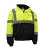 GSS Class 3 Hi Vis Lime Winter Bomber Jacket with Quilt Lining 8001 Left Side