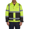 Utility Pro Class 3 Hi Vis Yellow Quilted Bomber Jacket UHV562 Front