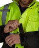 Utility Pro Class 3 Hi Vis Yellow Premium Rain Jacket with Teflon Protector UHVR642 Wrists