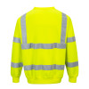 PortWest Class 3 Hi Vis Yellow Crew Neck Sweatshirt B303 Back