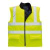 PortWest Class 2 Hi Vis Reversible Bodywarmer Vest US469 Yellow Front Unzipped