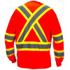 Pyramex Class 3 X-Back Hi Vis Two-Tone Orange Moisture Wicking Long Sleeve T-Shirt RCLTS3120 Back