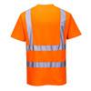 PortWest Class 2 Hi Vis Orange Cotton Comfort T-Shirt with 35 UPF Protection S170 Back