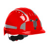 PIP Evolution Deluxe 6151 Standard Brim Mining Hard Hat with Reflective Kit 280-EV6151MCR2 Red