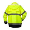 Pyramex Class 3 Hi Vis Lime Black Bottom Trim Rain Jacket RRWJ3110 Back