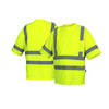 Pyramex Class 3 Hi Vis Lime Moisture Wicking T-Shirt with Chest Pocket RTS3410 Front/Back