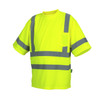 Pyramex Class 3 Hi Vis Lime Moisture Wicking T-Shirt with Chest Pocket RTS3410 Front